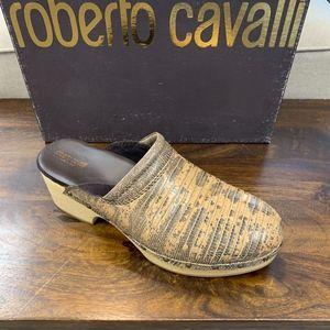 Roberto Cavalli Brown Leather Croc Embossed Clogs